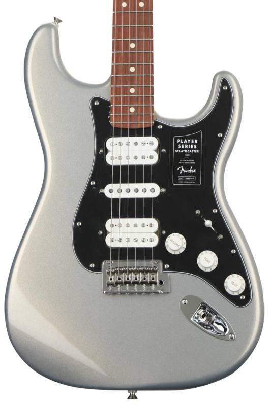 lung dan guitar dien Fender Player Stratocaster HSH PF Silver