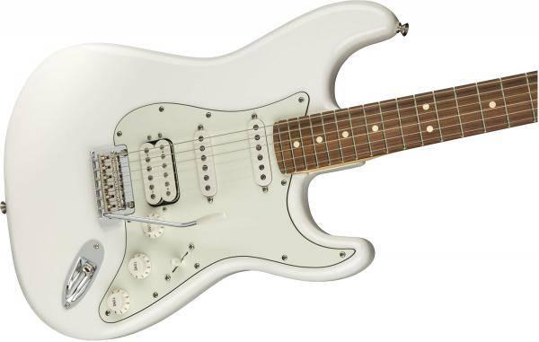 mat truoc guitar dien fender player stratocaster hss pf polar white