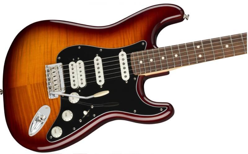 mat truoc guitar dien fender player stratocaster hss plus top pf tobacco burst