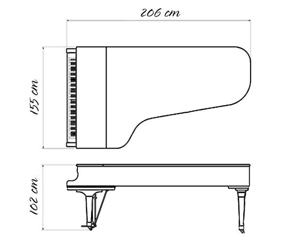 kich thuoc dan grand piano kawai gs-50
