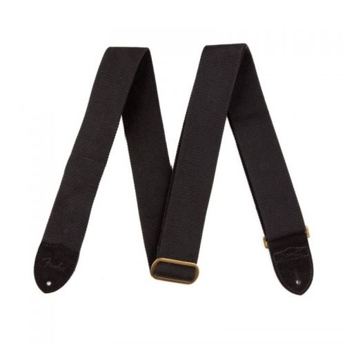 Fender Guitar Strap Cotton/Leather, Black