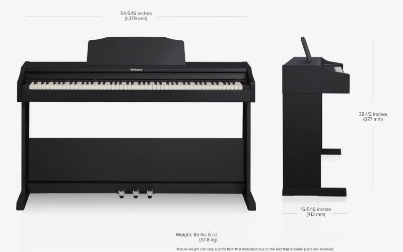 kich thuoc dan piano dien roland rp 102