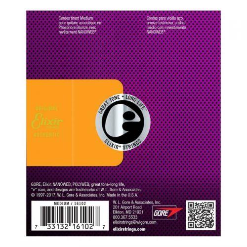 Elixir E16102 Phosphor Bronze Nanoweb Medium