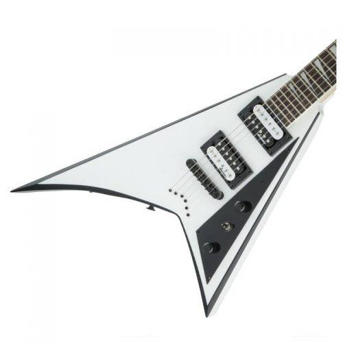 thung dan guitar dien jackson series rhoads js32t white with black