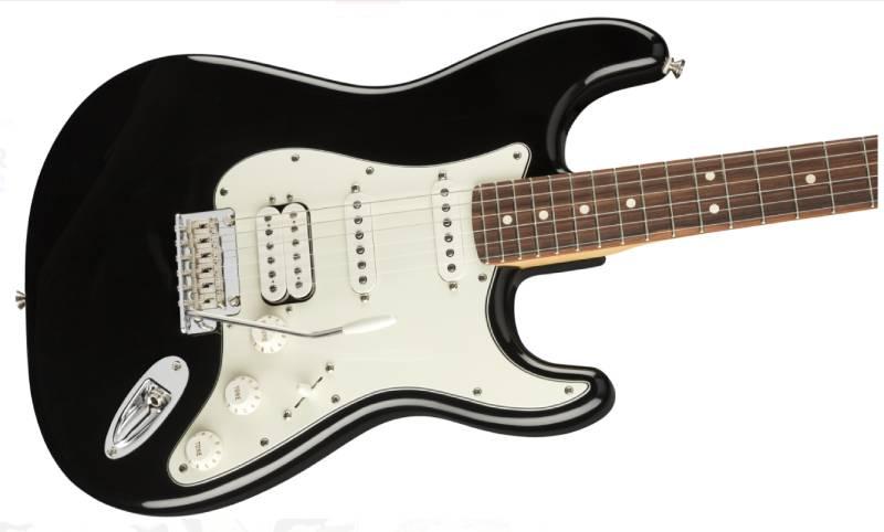 mat truoc guitar dien fender player stratocaster hss pf black